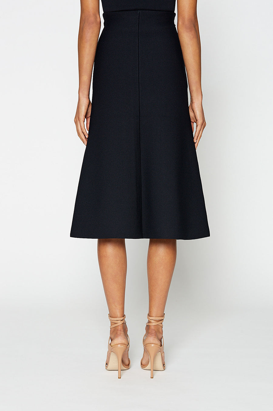 Crepe Knit A-Line Skirt, fitted at the waist, A-line body, sits below knee, Color Navy