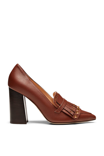 STUDDED TRAPEZE HEEL 9.5 COCOA, COCOA color