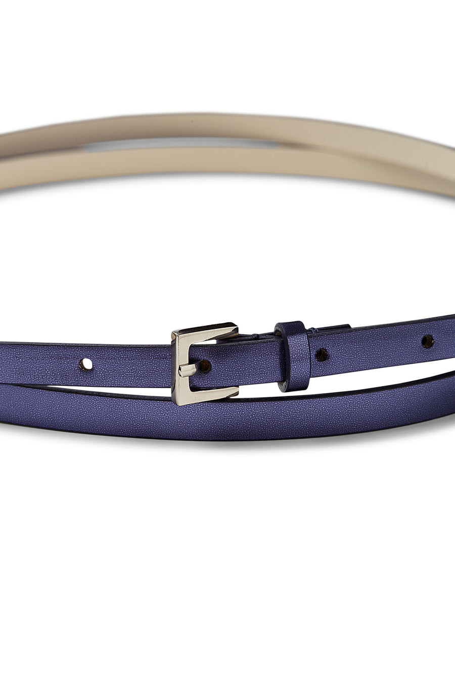 MIRROR WRAP BELT NERO, Double Wrap Belt, Silver Hardware, SAPPHIRE color