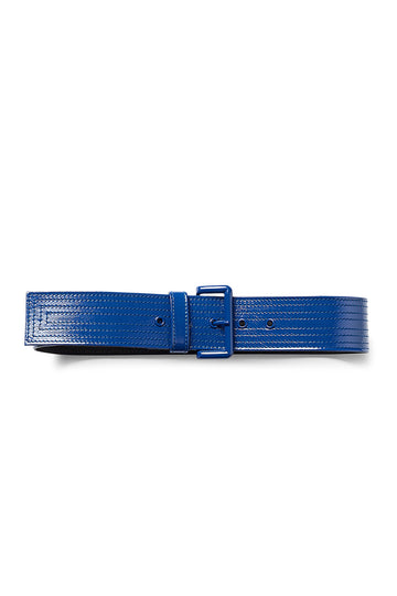 PATENT LEATHER BELT 5 BLU, BLUE color