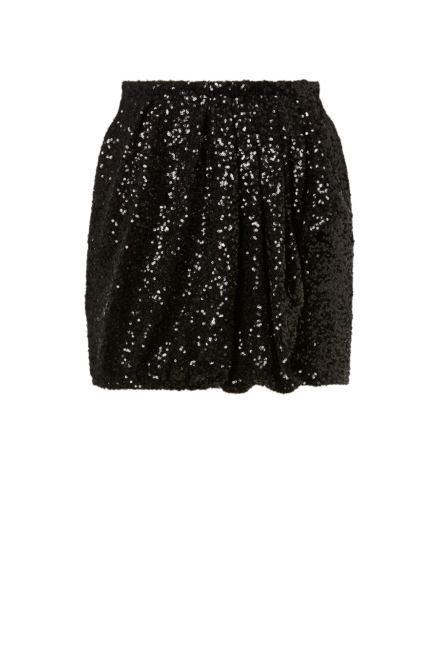 Sequin Pleat Skirt, drape front frill details, hidden zip closure at back and practical pockets, color black