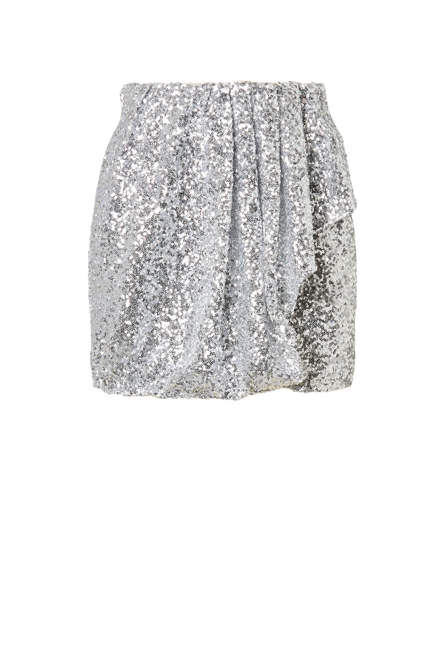 Sequin Pleat Skirt, drape front frill details, hidden zip closure at back and practical pockets, color silver