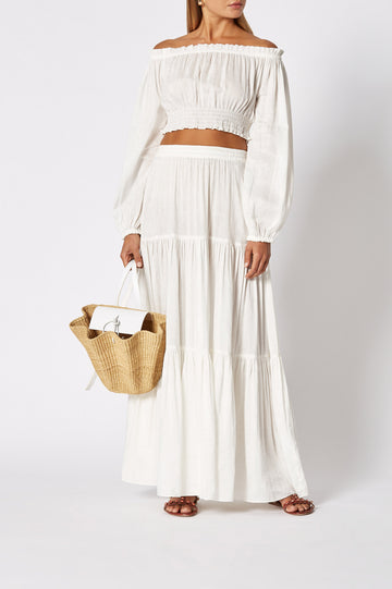 Voile Long Skirt White, loose fit, floor-length, elasticated waist