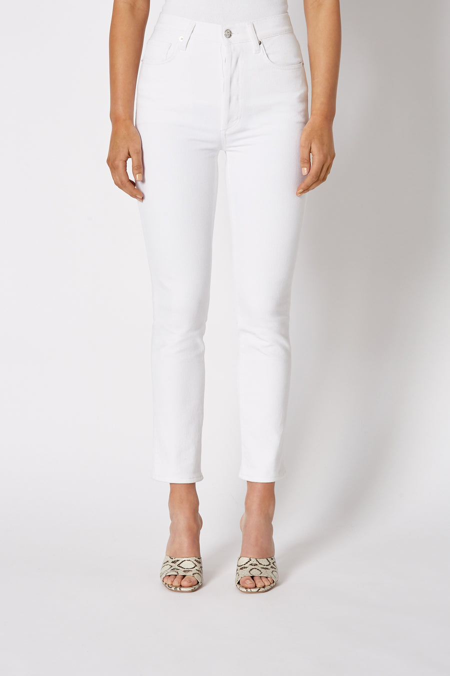 Waist accentuating, white denim jeans with just enough stretch for a feminine fit