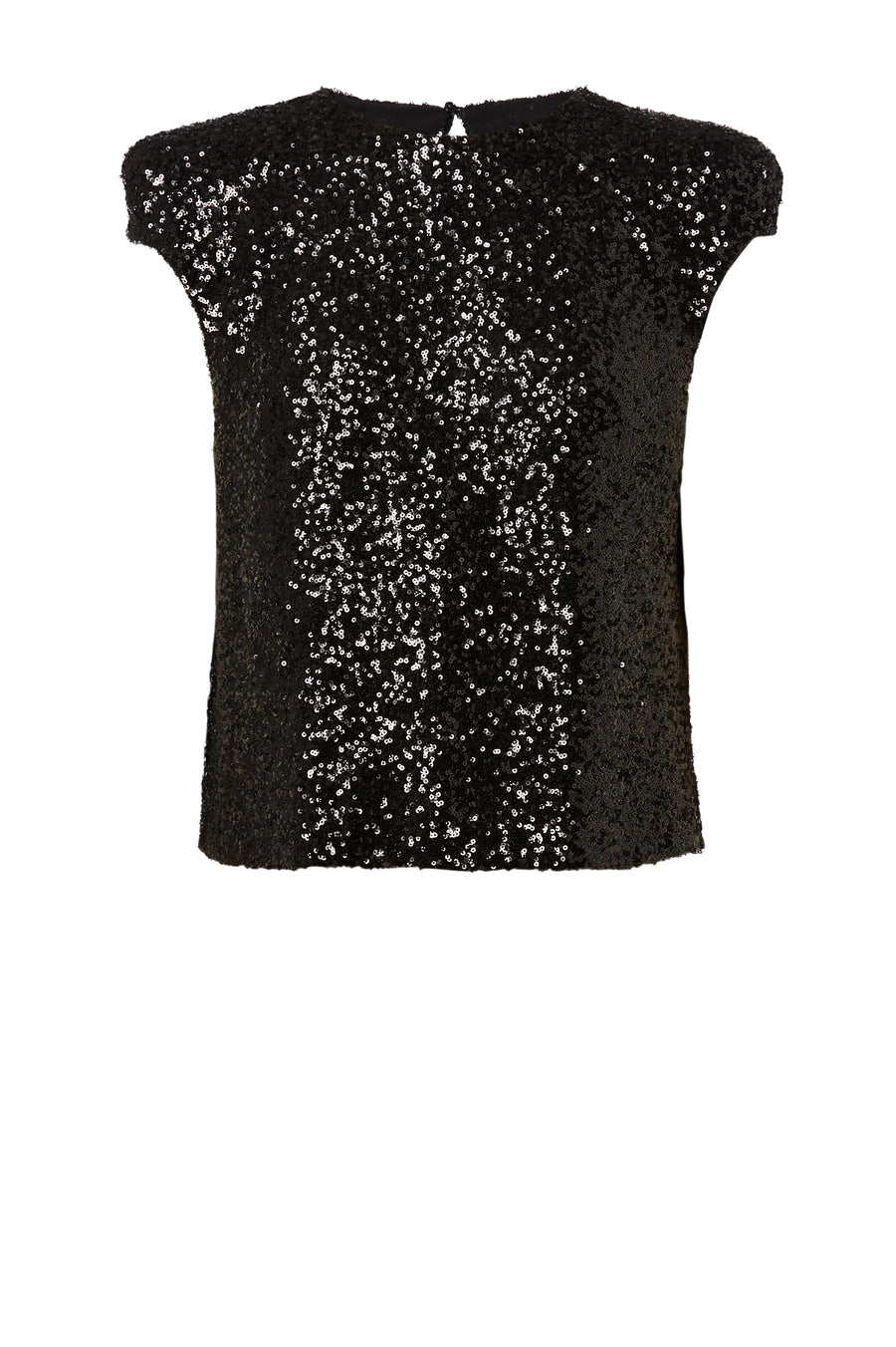 Sequin Top, broad tailored shoulder, cap sleeve, high neckline, keyhole button closure at back, color black