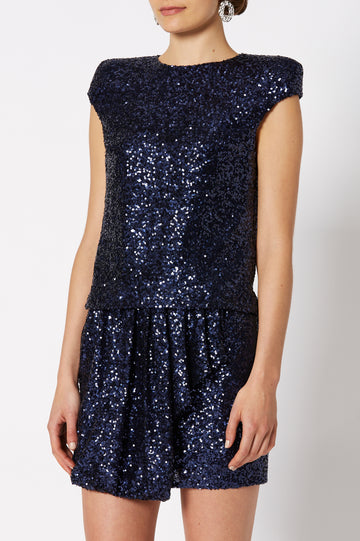 Sequin Top, broad tailored shoulder, cap sleeve, high neckline, keyhole button closure at back, color navy