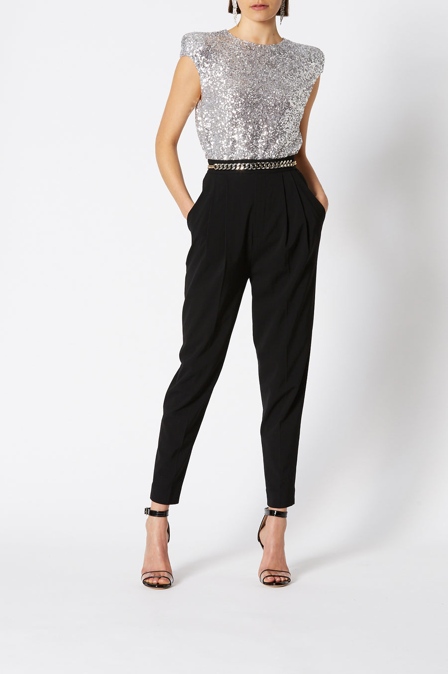 Sequin Top, broad tailored shoulder, cap sleeve, high neckline, keyhole button closure at back, color silver