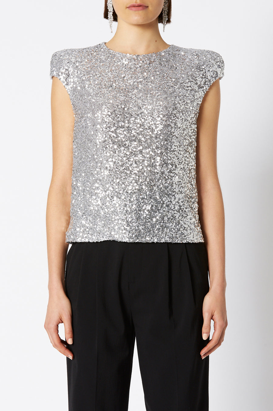 SEQUIN TOP SILVER