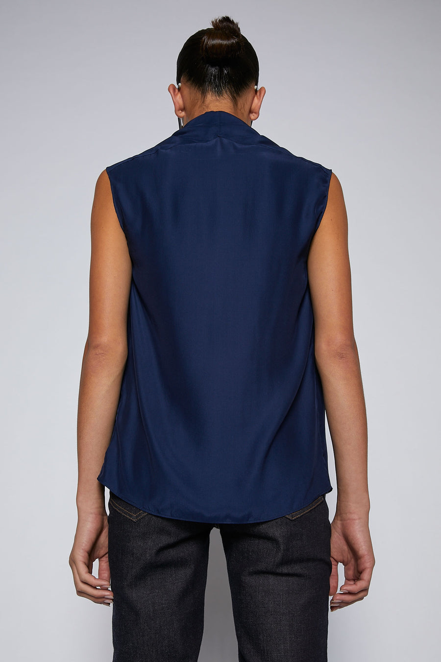 CHARMEUSE V NECK TANK NAVY, Relaxed fit, Draped, v-neckline