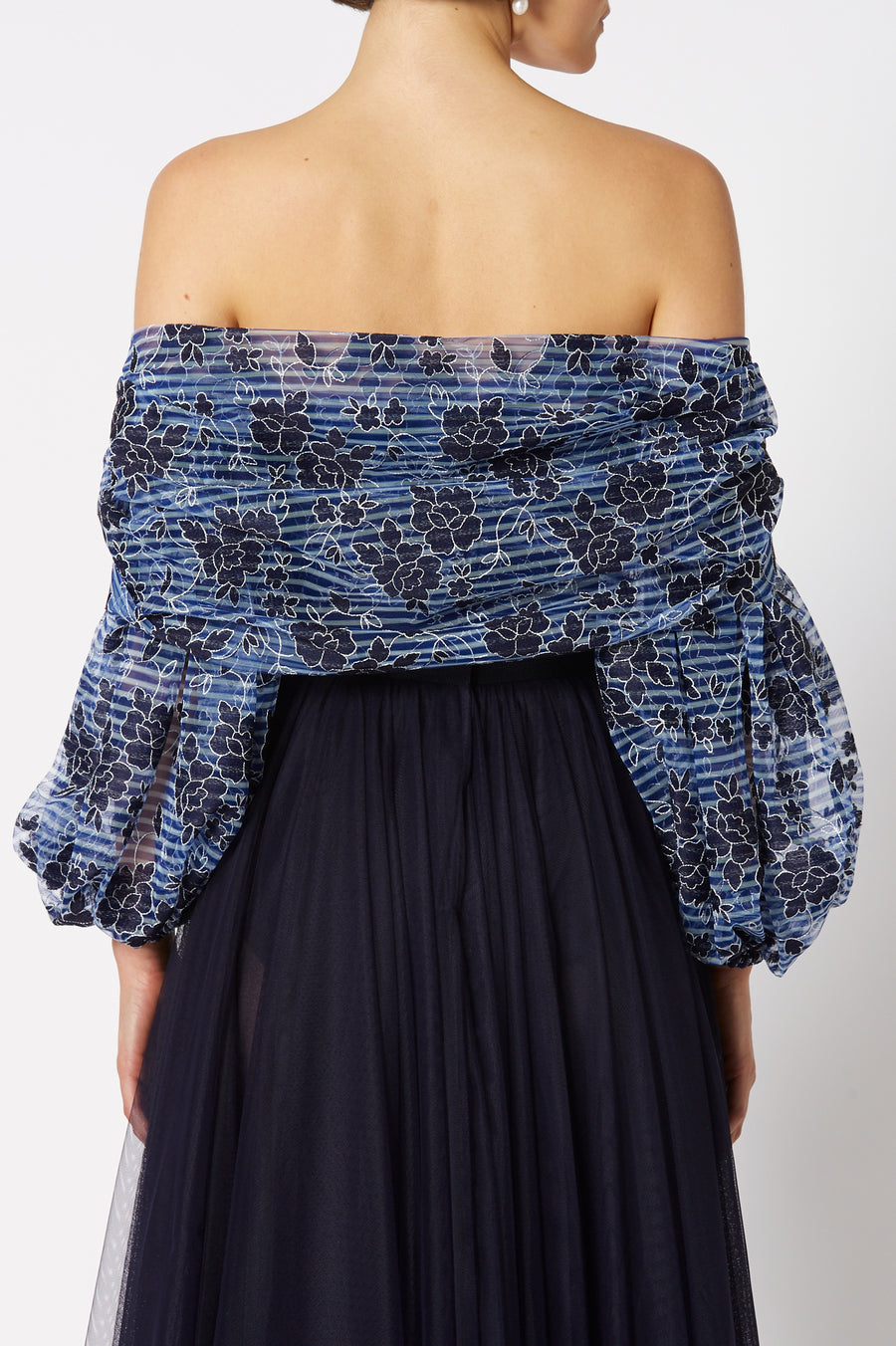 The Embroidered Tulle Bustier in Navy is designed for a slim fit, color navy