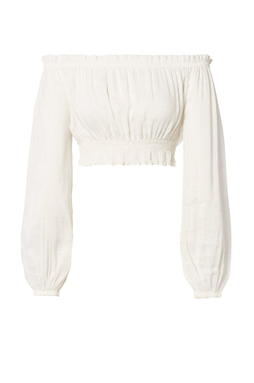 Voile Cropped Top White, regular fit, elasticated neck, sleeve and waist, cropped style