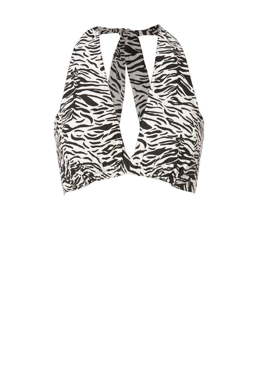 ANIMAL PRINT HALTER TOP BLACK/WHITE