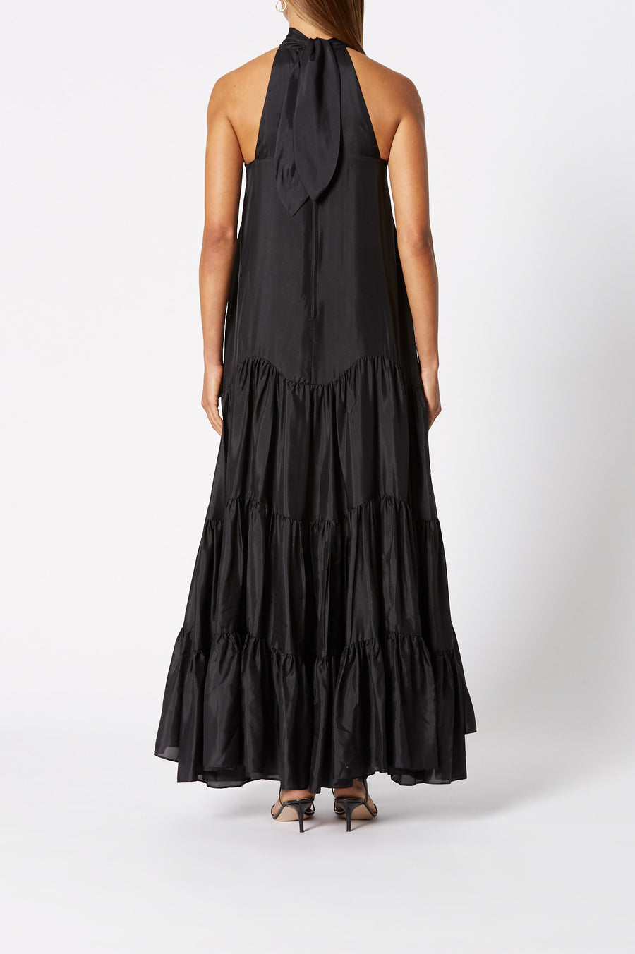 Silk Ruffle Hem Dress Black, Back Zip Closure, Tie neck, Maxi length, back keyhole opening