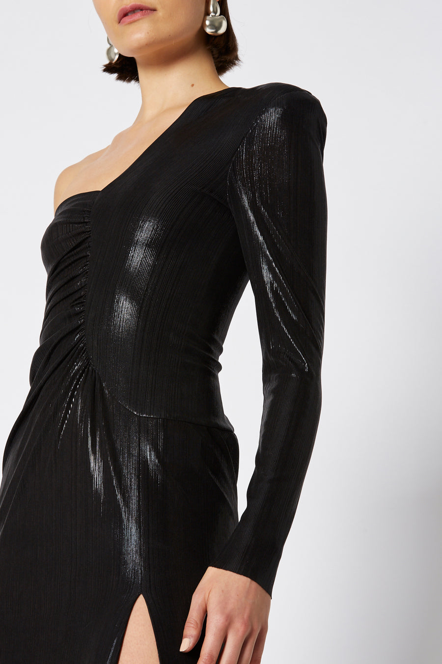 Lacquer Jersey Dress in shimmering black features a one shoulder arm and high slit, color black