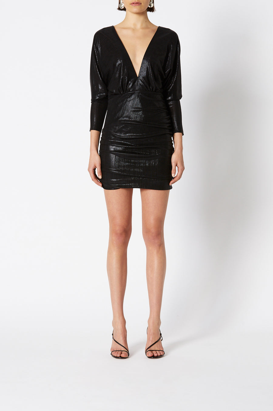 LACQUER JERSEY DRESS BLACK