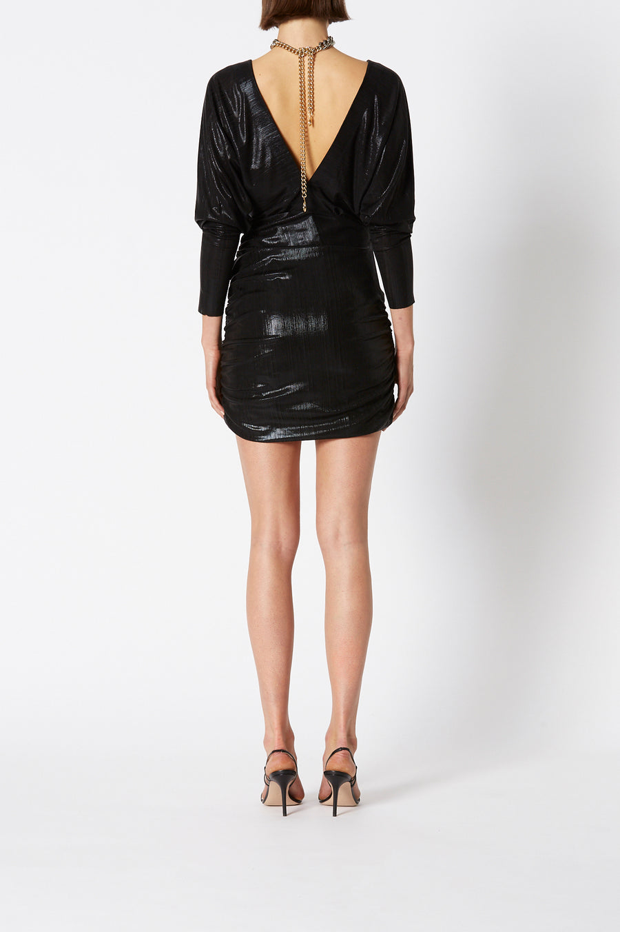 Lacquer Jersey Dress in shimmering black features a plunging neckline and ruched fitted skirt, color black