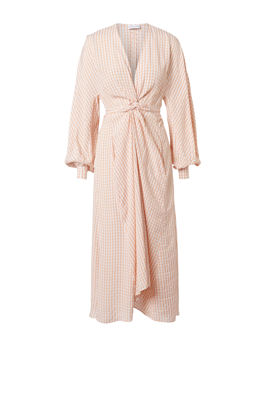 Gingham Wrap Front Dress is a loosely fitted, wrap around dress with billowing sleeves and hidden side pockets, belt included, color peach