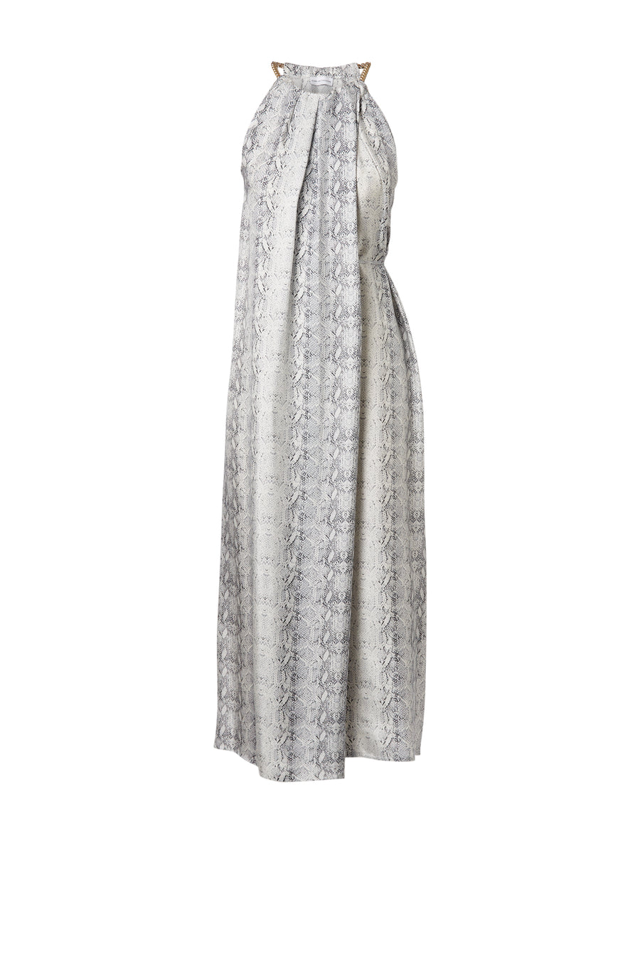Silk Reptile Print Dress has a halter with chain detail around the neck. Drape detail throughout with side tie, color white