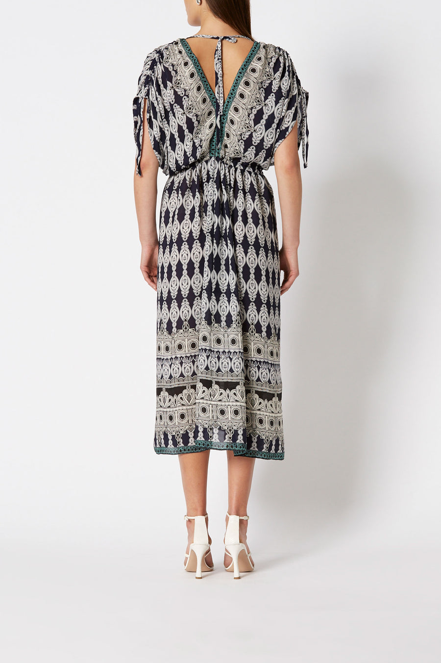 Silk GGT Marrakech Print Dress Navy,  below the knee length , v-neckline, adjustable cap sleeves