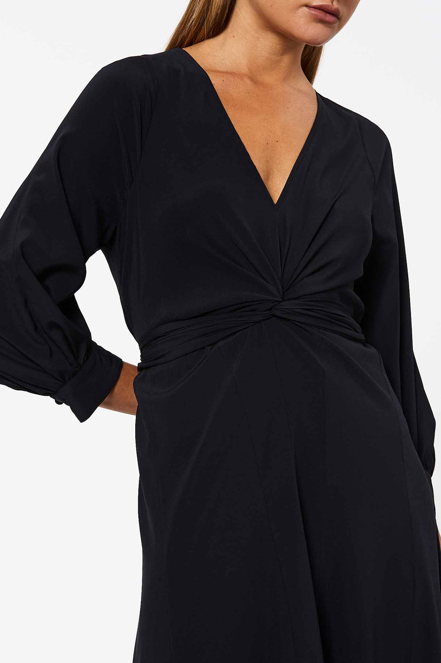 CDC Turban Twist Dress Navy, regular fit, below the knee length, ¾ blouson sleeves, v-neckline.CDC Turban Twist Dress Navy, regular fit, below the knee length, ¾ blouson sleeves, v-neckline.