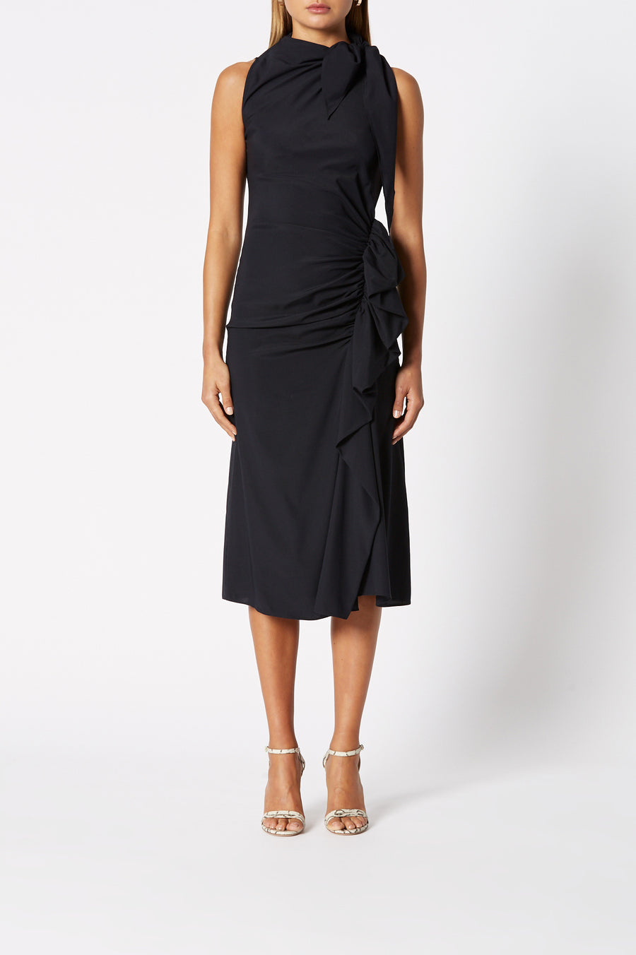 Silk Ruffle Dress Navy, below the knee length, high neckline, ruched detailing