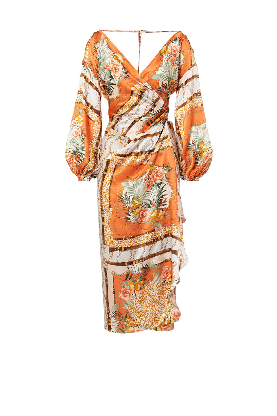 Silk Animal Scarf Print Dress Apricot, midi length, deep v- neckline, back shoulder tie closure, waist tie, blouson sleeves