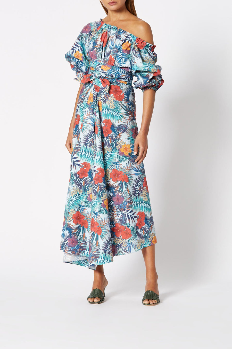 Printed Cotton Wrap Dress Pale Blue, relaxed fit, midi length, asymmetric hem