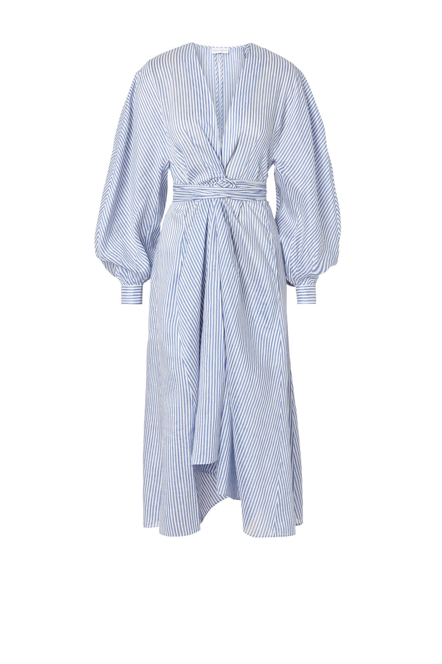 Stripe Voile Wrap Front Dress Blue/White, v- neckline, wrap front closure, ballooned sleeve, below the knee length