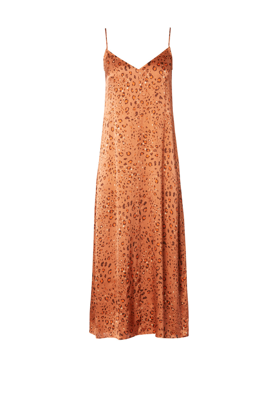 Silk Leopard Dress Burnt, v- neckline, spaghetti straps, midi length, loose fit