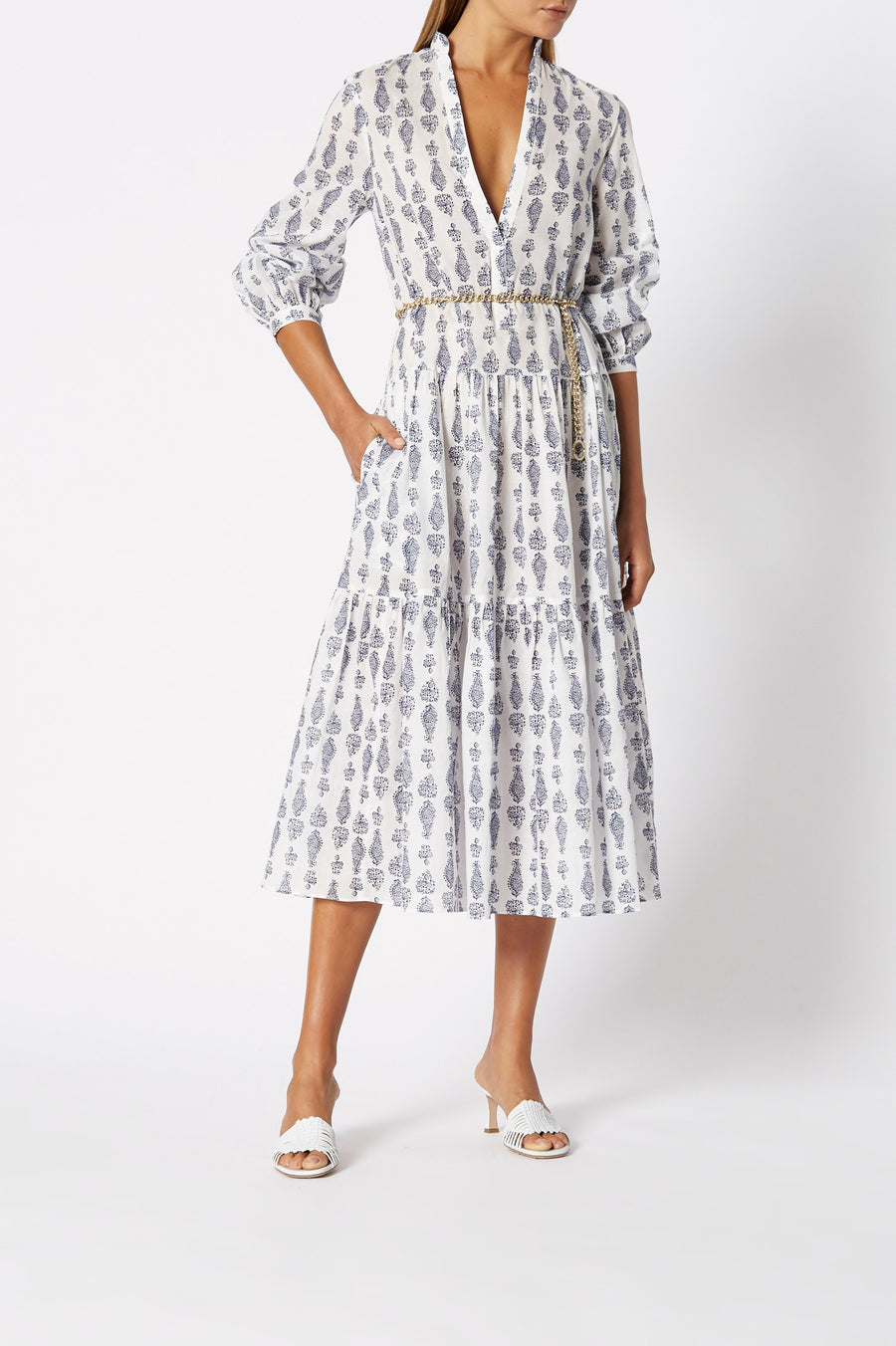 Cotton Paisley Dress White, ¾ Cuffed sleeves, Below the knee length