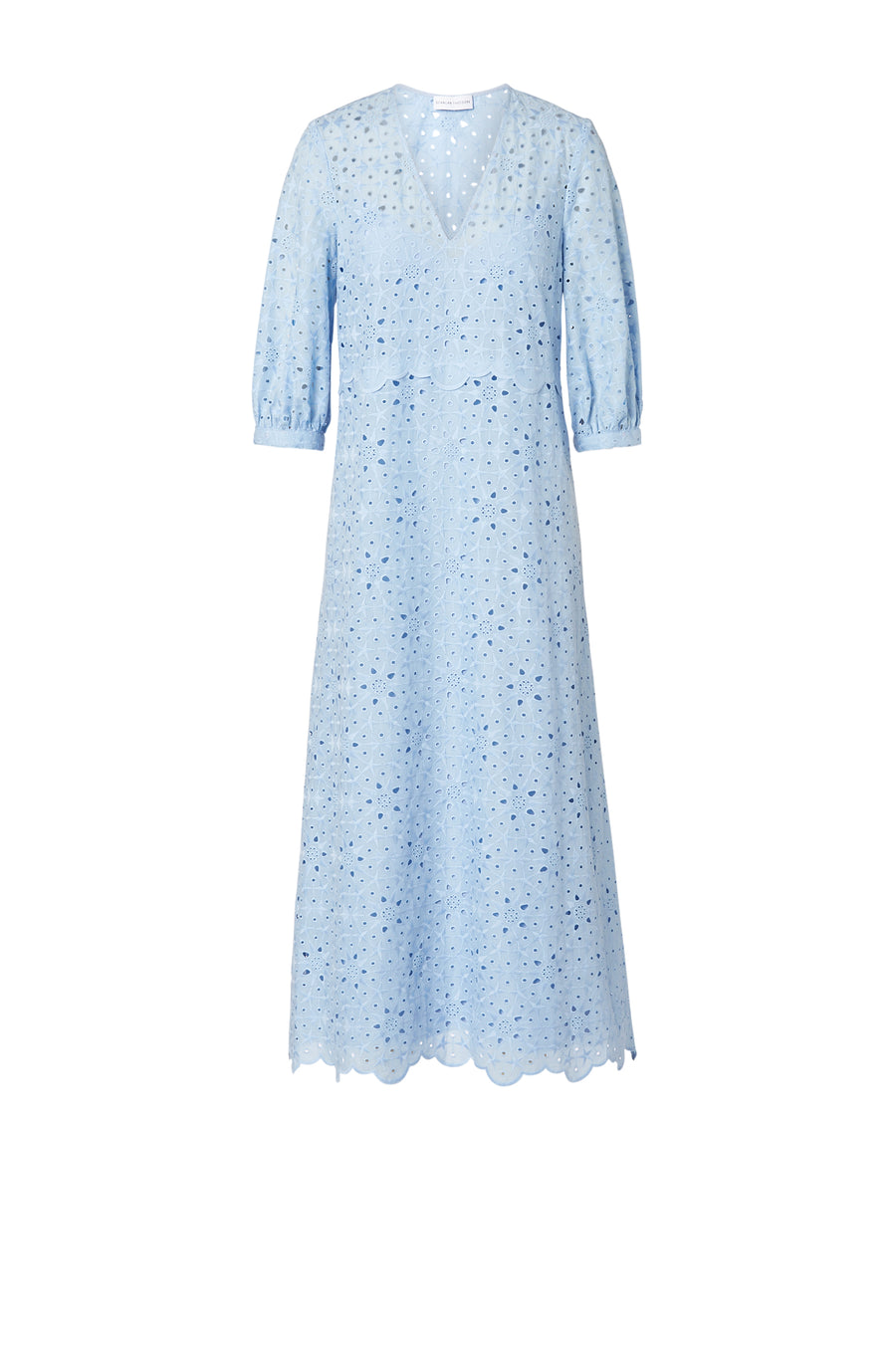 Embroidered Cotton Dress Powder, midi length, 3/4 Sleeves, v- neckline