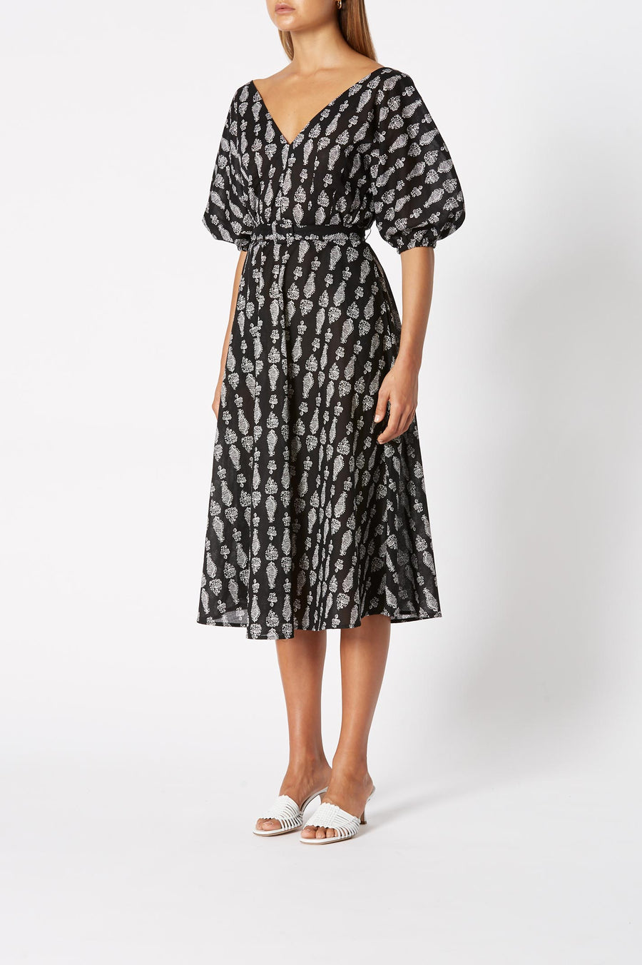 Cotton Paisley Cocoon Dres, Blouson sleeve with elasticated cuff, Deep V- neckline