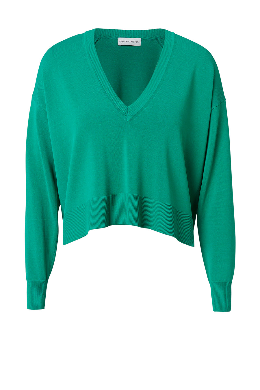 The Pleated Rib V-Neck Sweater is a V Neck Cropped Sweater, color verde