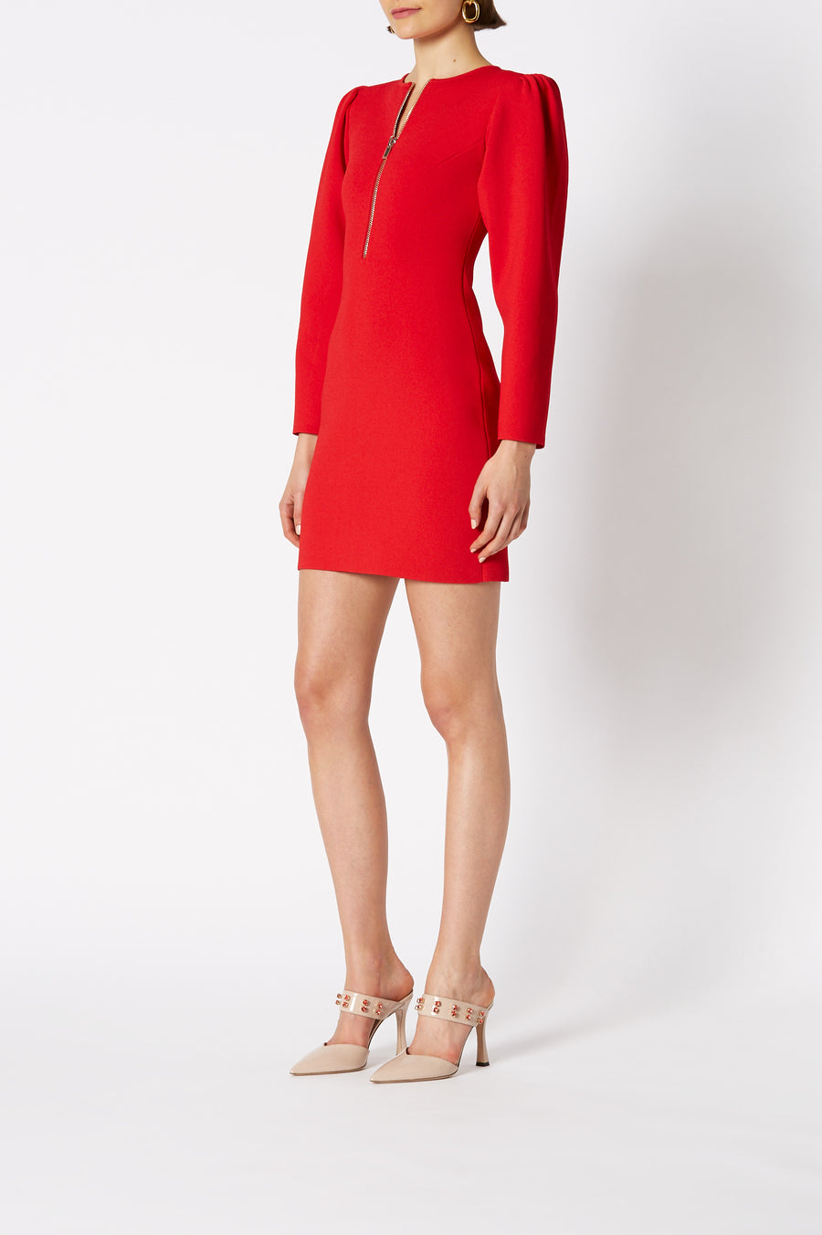 The Crepe Knit Gather Sleeve Dress is designed for slim fit and mini in length, color red