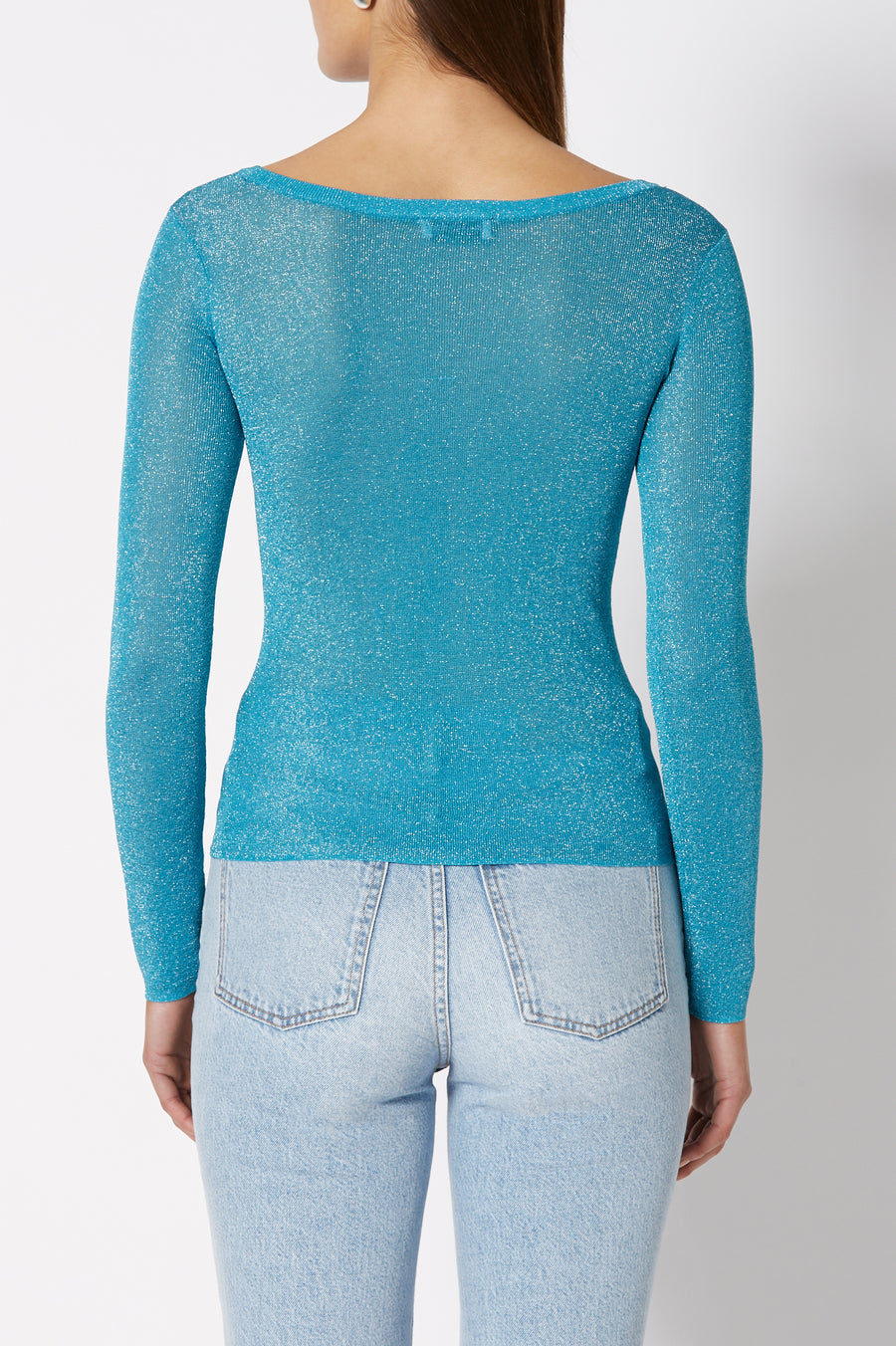SPARKLE RIB BOAT NECK SWEATER AZURE, Slim fit, Boatneck