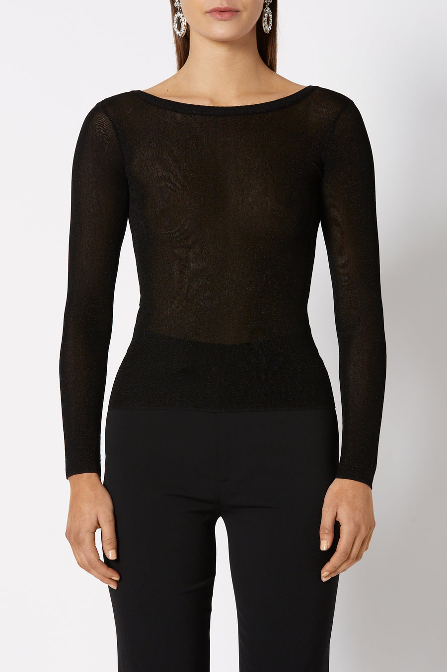 Sparkle Rib Boat Neck Sweater has a boatneck and is designed for a slim fit, color black