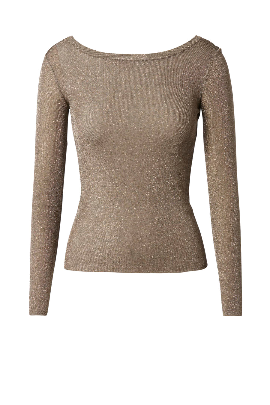 Sparkle Rib Boat Neck Sweater has a boatneck and is designed for a slim fit, color clay