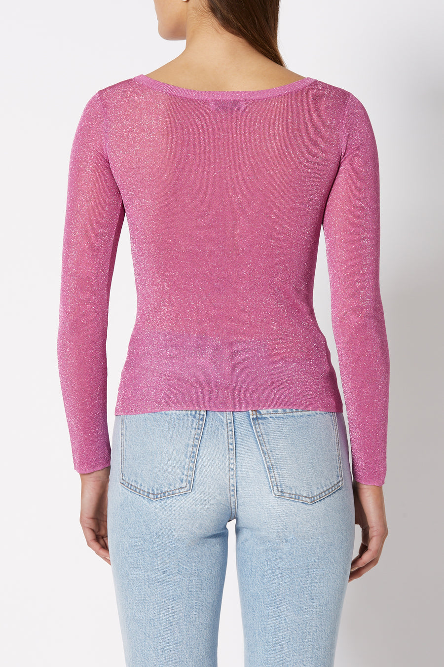 Sparkle Rib Boat Neck Sweater has a boatneck and is designed for a slim fit, color Fuschia