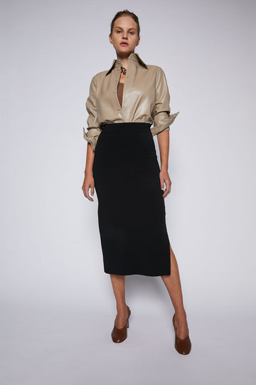 Micro Crepe Skirt Black, knee length, regular fit