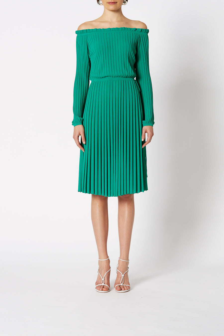 Pleated Rib Cold Shoulder Dress is a off the shoulder dress with a cinched in waistline, color verde