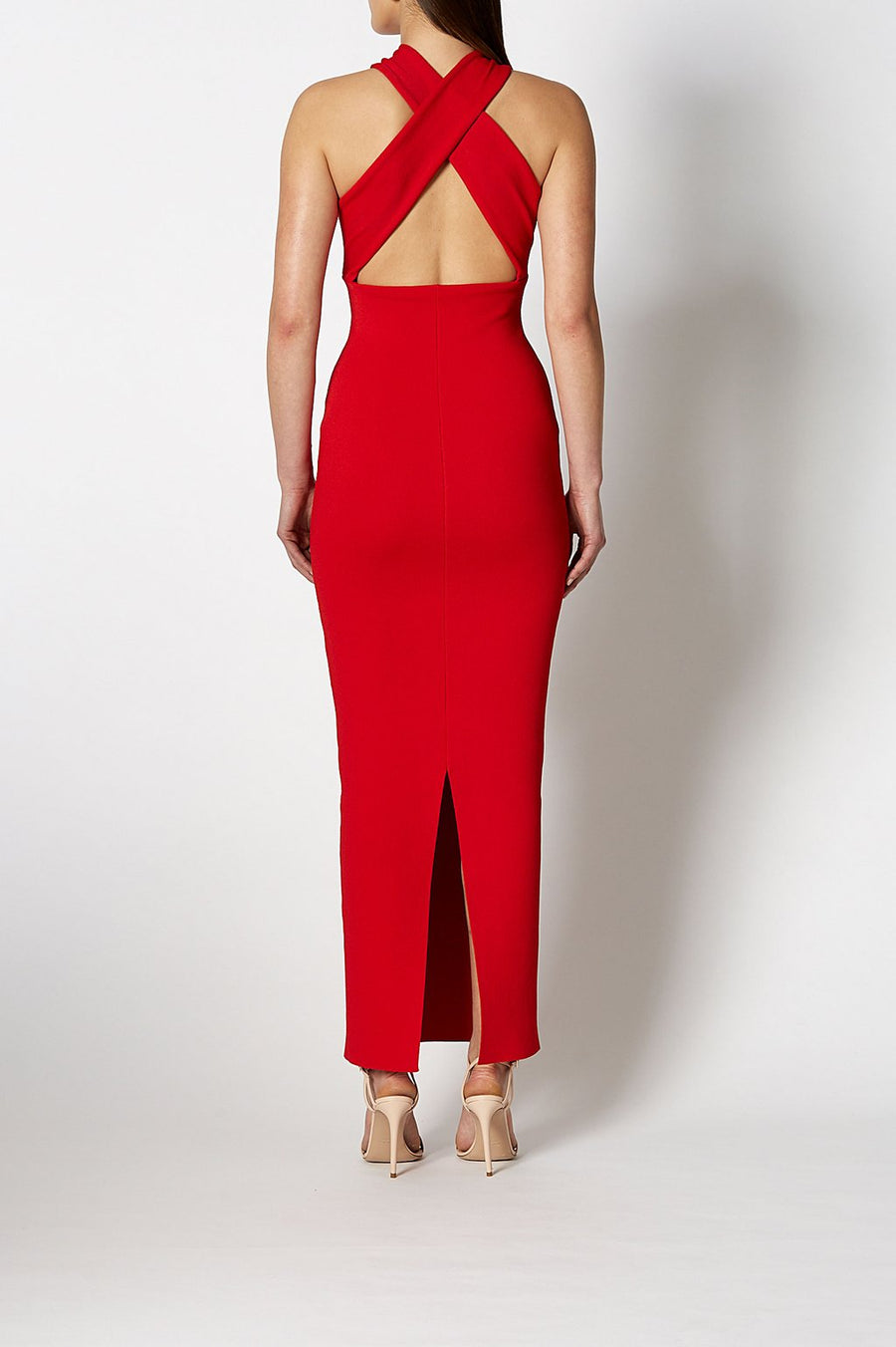 Crepe Knit Gown, Full Length, Crossover Halter, Red Color