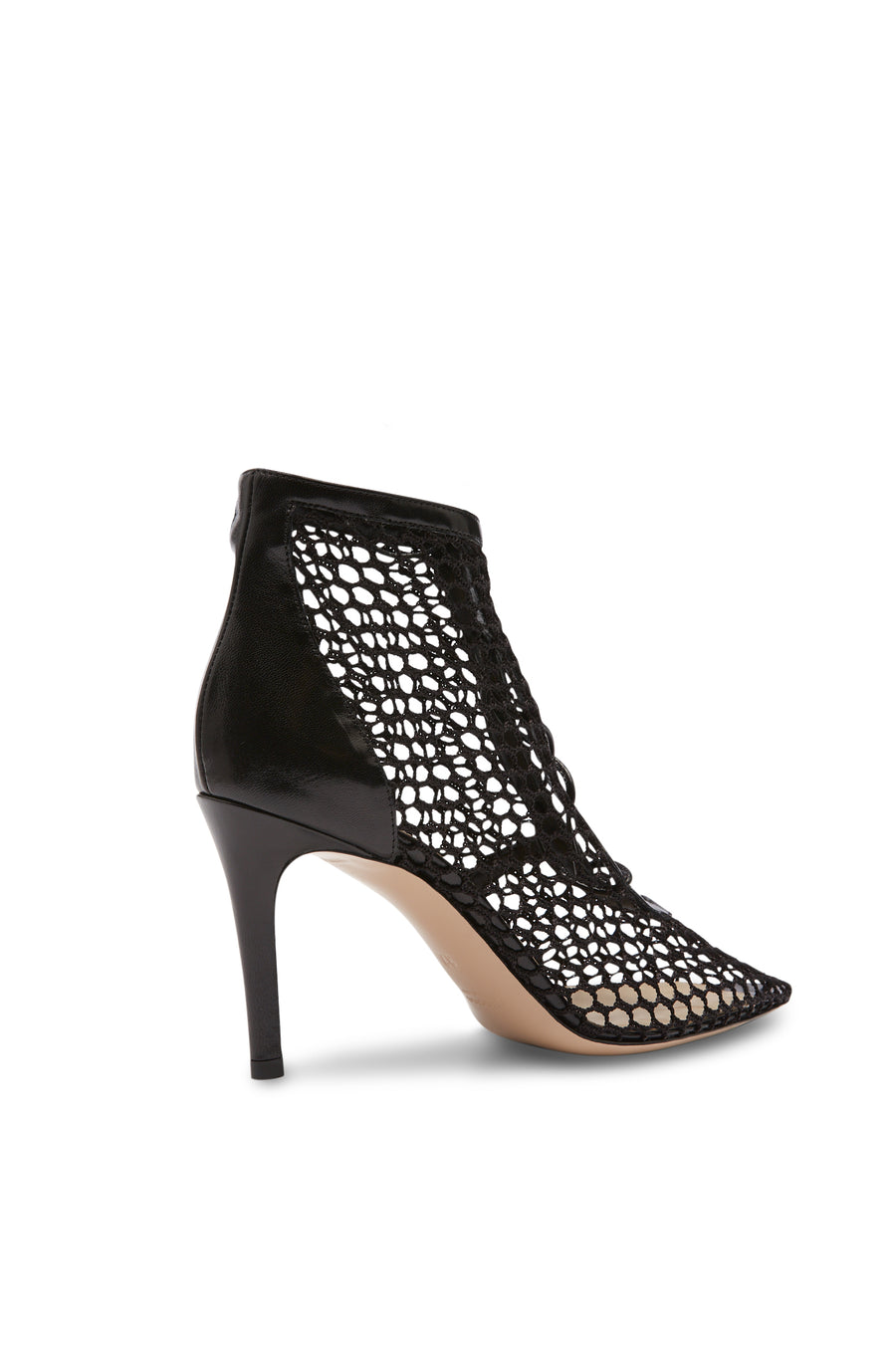 Meshed Heeled Bootie, Pointed Toe, Color Black