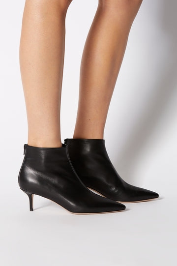 LEATHER ANKLE BOOT 5.5 NERO