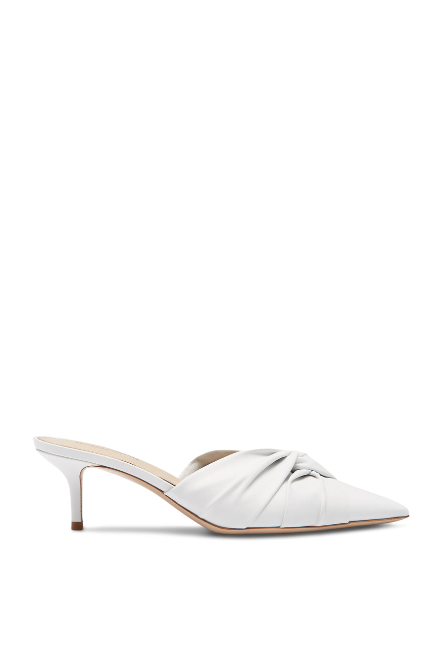 Mule, Calf Leather, White Color, Twisted Leather Detail