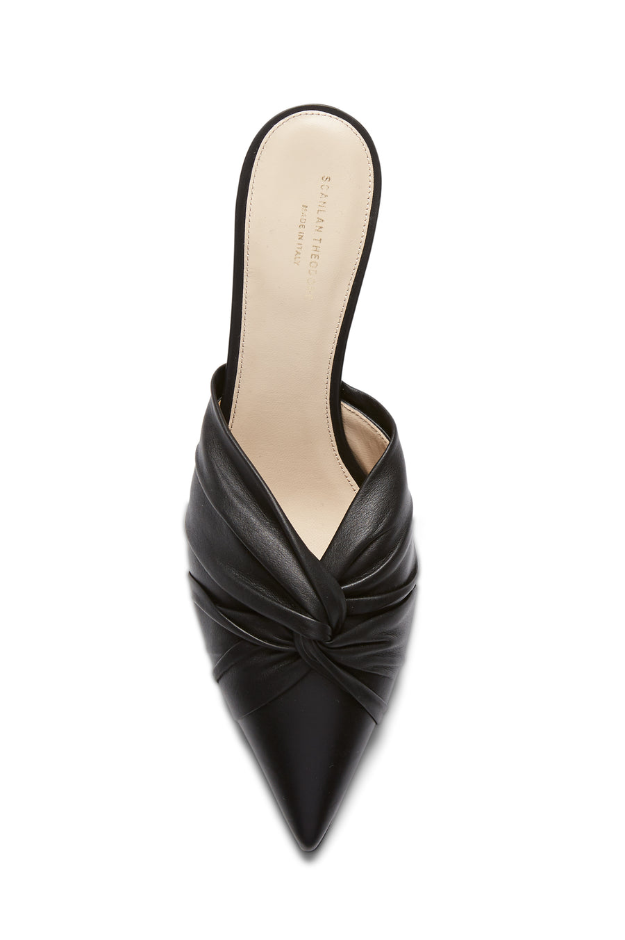 Kitten Heel Turban Twist Mule, Color Black, Leather Lining