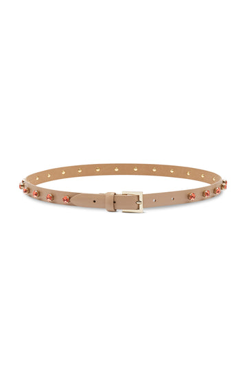 Rhinesone Belt features buckle fastening with Rhinestones wrapped around, band width of 1.5cm, COLOR MINK