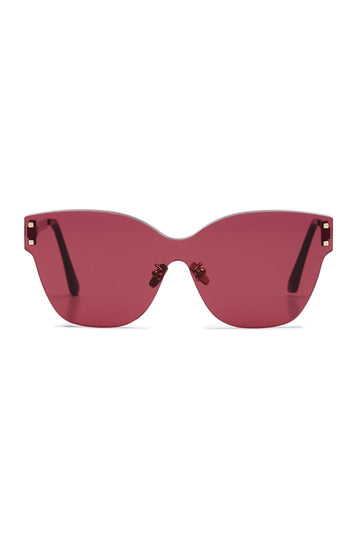 S T Butterfly Shield Sunglasses Pink Sepia, made with Japanese acetate