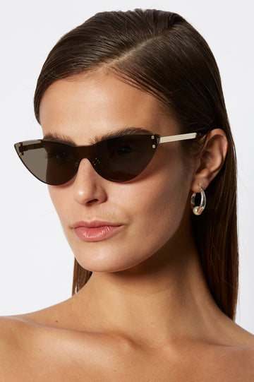 S T CAT EYE SHIELD SUNGLASSES GREY
