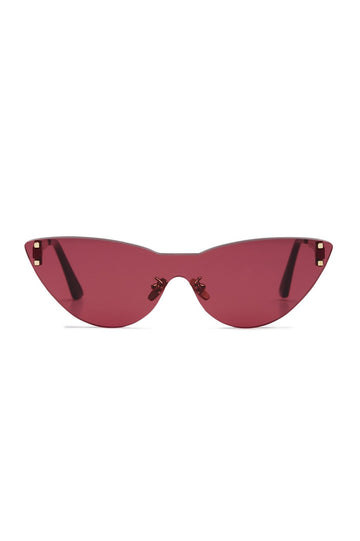 S T Cat Eye Shield Sunglasses Pink Sepia, made with Japanese acetate