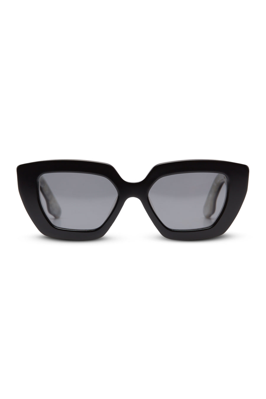 The pair of sophisticated sunglasses, reminiscent of the 60's, are softened by muted lenses.